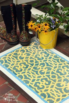 """How to stencil a custom welcome mat by @Brittany (aka Pretty Handy Girl) Blog using our Chez Sheik furniture stencil. Repin, like and comment to """"vote"""" for this project. If this is the winner, your comment enters YOU in a chance to win a 250 dollar Stencil Shopping Spree along with Brittany. See contest details! www.royaldesignst..."""