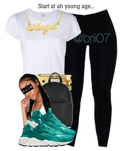 """Dropped Outta School Now We DUmb Richh"" by brii07 ❤ liked on Polyvore featuring RE/DONE and NIKE"