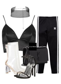 """Untitled #1530"" by elinaxblack on Polyvore featuring adidas Originals, Topshop, Yves Saint Laurent and Stuart Weitzman"