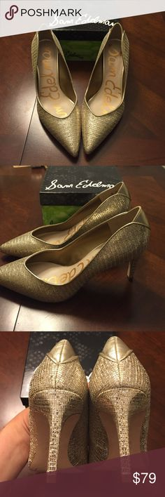 "NWT Sam Edelman glitz gold heels Hurry before these are gone! The most beautiful pair of gold pumps with 3"" heel. Brand new, never worn, would be great for a bride to be on her wedding day or bachelorette party or just a pop of glitz for a night out. Comes with box and a free dust bag. All offers considered! Sam Edelman Shoes Heels"