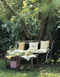 garden bench - Oh, what I would give for some trees like that in my backyard! :)