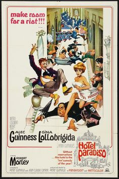 Hotel Paradiso one sheet poster. Alec Guinness. Gina Lollobrigida. Art by Frank Frazetta