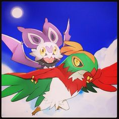 Ash's Hawlucha and Ash's Noibat ^_^ ^.^ ♡ I give good credit to whoever made this  I found this in http://jorgemoctezuma.tumblr.com/