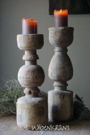 Stoere houten kandelaar, H 42,5cm Candle Holders, Decor, Light, Candles