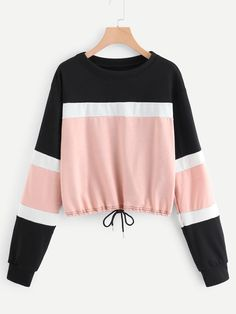 To find out about the Color Block Drawstring Hem Sweatshirt at SHEIN, part of our latest Sweatshirts ready to shop online today! Girls Fashion Clothes, Teen Fashion Outfits, Casual Outfits, Fashion Hair, Fashion Women, High Fashion, Fashion Dresses, Trendy Hoodies, Cool Hoodies