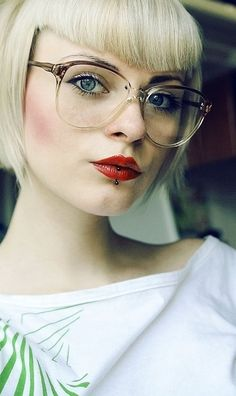 Simply Adorable: Glasses, Lip Piercing, Makeup, Hair & the Eyes Too! :)