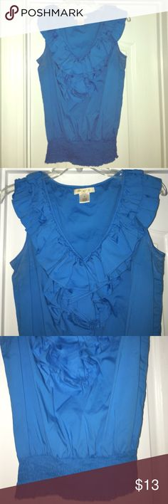 Cobalt blue ruffled top  In excellent condition, worn once or twice to work very cute with the banded bottom tucked in or worn out. Cute with a pencil skirt or skinny jeans! Arden B Tops Blouses