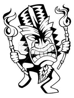 Tiki Drawings Illustration | Dancing Tiki Royalty Free Stock Vector Art Illustration Hawaiian Tribal, Hawaiian Tiki, Hawaiian Tattoo, Tiki Maske, Alien Drawings, Skull Drawings, Tiki Tattoo, Tiki Head, Hawaiian Crafts