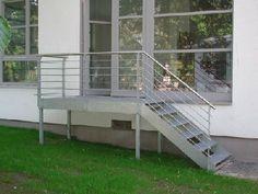 Außentreppe - Stahl feuerverzinkt, Handlauf aus Edelstahl ...