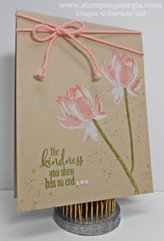 Another Simple Yet Stellar Card with the Lotus Blossom Stamps!  Stampin' Up! White Craft Ink makes the perfect background for the blossoms!  Details on my blog . . . www.stampingeorgia.com