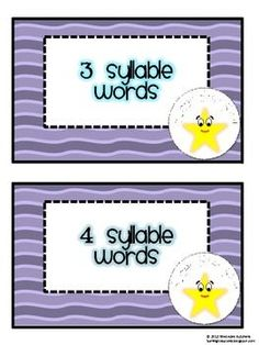 This packet contains:A two page pretest and two page posttestSeven pages of syllable word cardsA syllable game label and 4 game headersDirections for three game variations Two worksheetsA definition of syllables to postPrintouts for motivating students including a graphThis is the second in a series of Super Star Review Skills.