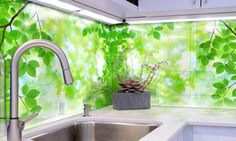 OEM Backsplash in Green Leaf Design