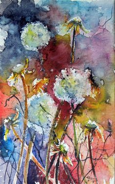 Buy Dandelion, a Watercolor Painting on Paper, by Kovacs Anna Brigitta from Hungary, For sale, Price is $150, Size is 9.8 x 6.3 x 0 in.