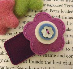 NO SLIP Wool felt hair clip flower pot navy by MayCrimson on Etsy