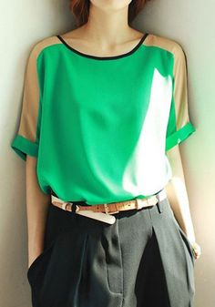 Green Color Block Patchwork Collarless Loose Chiffon Blouse