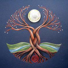 The Moon Tree – Celtic Shaman's Axis Mundi – Dancing Moon Designs Tree Of Life Art, Celtic Tree Of Life, Tree Art, Tree Of Life Painting, Tree Of Life Symbol, Mandala Art, Moon Mandala, New Moon Rituals, Celtic Art