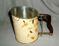 Vtg RARE Old Jewel Tea Autumn Leaf Tin and Wood Flour Sifter Hall Pottery Great!
