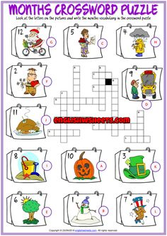 Months ESL Printable Crossword Puzzle Worksheet for Kids