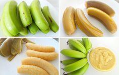 Biomassa de banana verde Ingredientes: 4 bananas verdes, de preferencia a nanica Modo de fazer: Em uma panela de pressão, coloque as bananas com casca e cubra com água. Cozinhe por 15 minutos e escorra a água. Retire as cascas a amasse a polpa ainda quente até formar um purê (você pode passar no processador se preferir). Guarde na geladeira e use aos poucos. Para descongelar a biomassa, leve-a ao fogo com um pouco de água e mexa até que se desmanche.