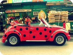 """lady """"bug"""" Volkswagen beetle ----awwww my little ladybug! Vw Bus, Auto Volkswagen, Volkswagen Germany, Beetle Bug, Vw Beetles, Lady Bug, My Dream Car, Dream Cars, Carros Retro"""