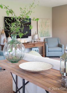 Sofa table vase & filler, console table decor.