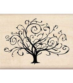 Inkadinkado Rubber Stamp-Flouished Fall Tree