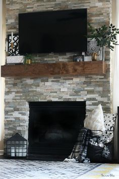 Image result for shiplap fireplace with floating mantle