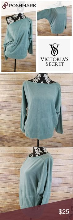 Victoria's Secret Plush & Lush Sweater Beautiful soft Victoria's Secret plush and Lush pullover sweater.  Front two sided pockets.  75% cotton, 25% polyester. Machine wash cold with similar colors only. In Excellent condition.  Color: baby blue/green. Victoria's Secret Sweaters Crew & Scoop Necks
