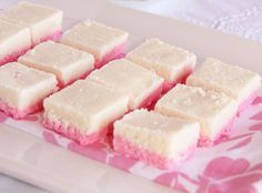 Coconut ice with condensed milk is a delicious (and safe) sweet treat kids will love to make. It does not include boiling sugar syrups, hot ovens or sharp knives. And the super sweet, pink-and-w… Fudge Recipes, Candy Recipes, Sweet Recipes, Dessert Recipes, Cokies Recipes, Sweet Desserts, Dessert Ideas, Recipies, Coconut Ice Recipe