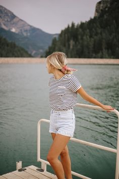 a classic striped basic tee that you can where any time, anywhere, and with anything. Made with super soft rayon spandex, this t-shirt hits mid-length with a relaxed and flattering fit. A crew neck, curved hem, and pocket add just the right details. Say hello to our Sailor Stripe Basic Tee. It's here to stay, friends. Pair with our Jetsetter Pants or your favorite jean shorts. | @albionfit