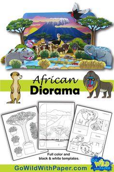 Super african animal art for kids coloring pages ideas Paper Crafts For Kids, Crafts For Kids To Make, Art For Kids, Halloween Diorama, Rainforest Habitat, Ocean Habitat, Coloring Pages For Kids, Kids Coloring, Animal Habitats