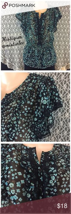 """Beautiful Semi Sheer Ruffle/Lace Blue Floral Shirt Made by: Apt. 9 Size Small (See measurements) I believe it will fit a Med. also. This is a Reposh... It was too big for me. It is Black w/ Blue Green and Clay Floral Design. Adorned with Black Lace w/Ruffle Design Throughout. Special Gathering at the Shoulders, wide Elastic Waist and Layering at the Hem. Measurements: Shoulder to Shoulder 14"""" Underarm to UA 17.5"""" Waist 15""""+Stretch Mid-Neck to Hem Length 25"""". This would be great for a Formal…"""