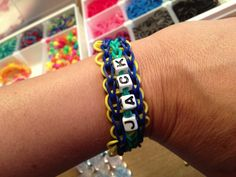 Personalized rainbow loom bracelet  Triple Single with Rings