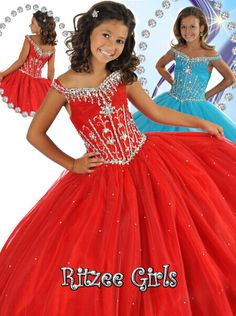 Your little Miss America will look her best on stage wearing the Ritzee Girls pageant gown 6462! This children's beauty pageant dress features an off the shoulder neckline with lovely rhinestone beading, a fitted bodice with even more chunky A.B. rhinestone crystals, and a straight full skirt with scattered bead work. This is sure to make any princess feel beautiful!