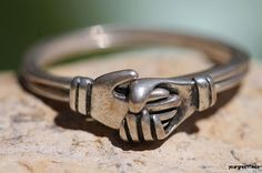 Vintage 925 Sterling Silver Double Puzzle Ring Holding Hands by Boma.  I WANT THIS!!