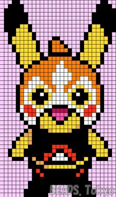 Made a Pikachu suffered the headgear of Mega Charizard Y! Pixel Art Templates, Perler Bead Templates, Perler Patterns, Hama Beads Pokemon, Pokemon Craft, Pokemon Pokemon, Hamma Beads Ideas, Pokemon Cross Stitch, Pixel Art Grid