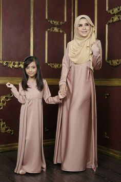 """Mommy and I are dressed up in pink. Abaya Fashion, Muslim Fashion, Modest Fashion, Fashion Dresses, Mommy Daughter Dresses, Mother Daughter Fashion, Dress Anak, Modele Hijab, Abaya Designs"