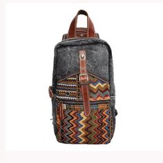 Men Women Casual Ethnic Style Canvas Genuine Leather Backpack - US$33.26