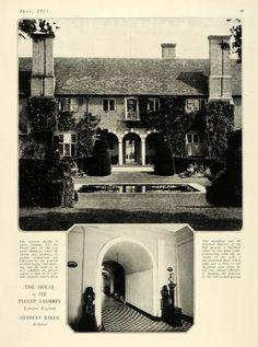 1923 Print Philip Sassoon Home Herbert Baker Architect Lympne England Loggia Johannesburg City, India House, Historic Houses, Trafalgar Square, Water Damage, Whistler, England, London, Mansions