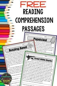 Free Reading Comprehension Passages with Questions Students love these high interest non-fiction reading comprehension passages! They are great for a quick and easy assessment or warm up. You can also use them in reading centers or for homework. Free Reading Comprehension Worksheets, 2nd Grade Reading Comprehension, Third Grade Reading, Comprehension Questions, Reading Fluency, Middle School Reading, Second Grade, 3rd Grade Homework, 2nd Grade Reading Passages