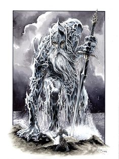 Ulmo was second in majesty of the Valar, after Manwë and before Aulë; in other words, he was the second of the Aratar. He was very close friends with Manwë. He is also known as King of the Sea and Lord of Waters.He was said to be fearful to look upon to mortal eye, dressed like a giant wave in glittering green armour, blowing his great horns the Ulumúri.     Ulmo by DanielGovar.deviantart.com