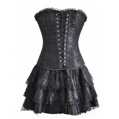 Gothic Lolita Steampunk Dress (3-pc Set) - Rebel Style Shop - This lacy, steampunk dress is a must-have for rebel fashionistas. Each package contains three pieces: a body-flattering corset top, ruffled mini skirt and matching panties.