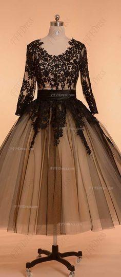 Vintage prom dresses long sleeves modest ball gown prom dresses black homecoming dresses tea length formal dresses plus size