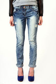 Caitlin Boyfriend Fit Stone Wash Jeans