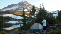 Our campsite at Camp Lake (South Sister is before us).