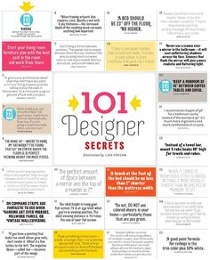 101 Designer Decorating Secrets! Enjoy the tips and visit DoorHardwareUSA.com - we offer luxury hardware for the home, expert service and discount prices.866.366.4066