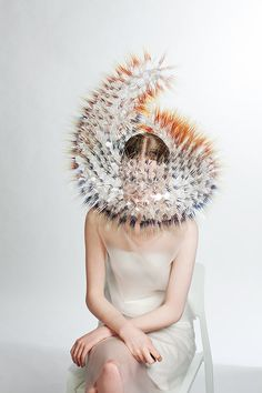 Atmospheric Reentry millinery fashion collection with bristly headdresses by Royal College of Art student Maiko Takeda. Body Adornment, Fashion Art, Fashion Design, Film Fashion, Crazy Fashion, Fashion Images, Modern Fashion, Fashion Pictures, Fashion Trends