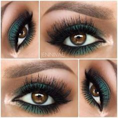 maquillaje mate con sombras verdes y cafes