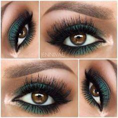 maquillaje mate con sombras verdes y cafes