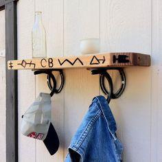 Hat Rack & Shelf horseshoes hooks mudroom by BlacksmithCreations, $59.99
